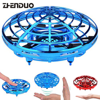 Hand Induced Hovering Floating Flight Novelty Infrared Sensor Flying Saucer UFO Hand Movements Kids Toy Mini RC Drone LED Flash