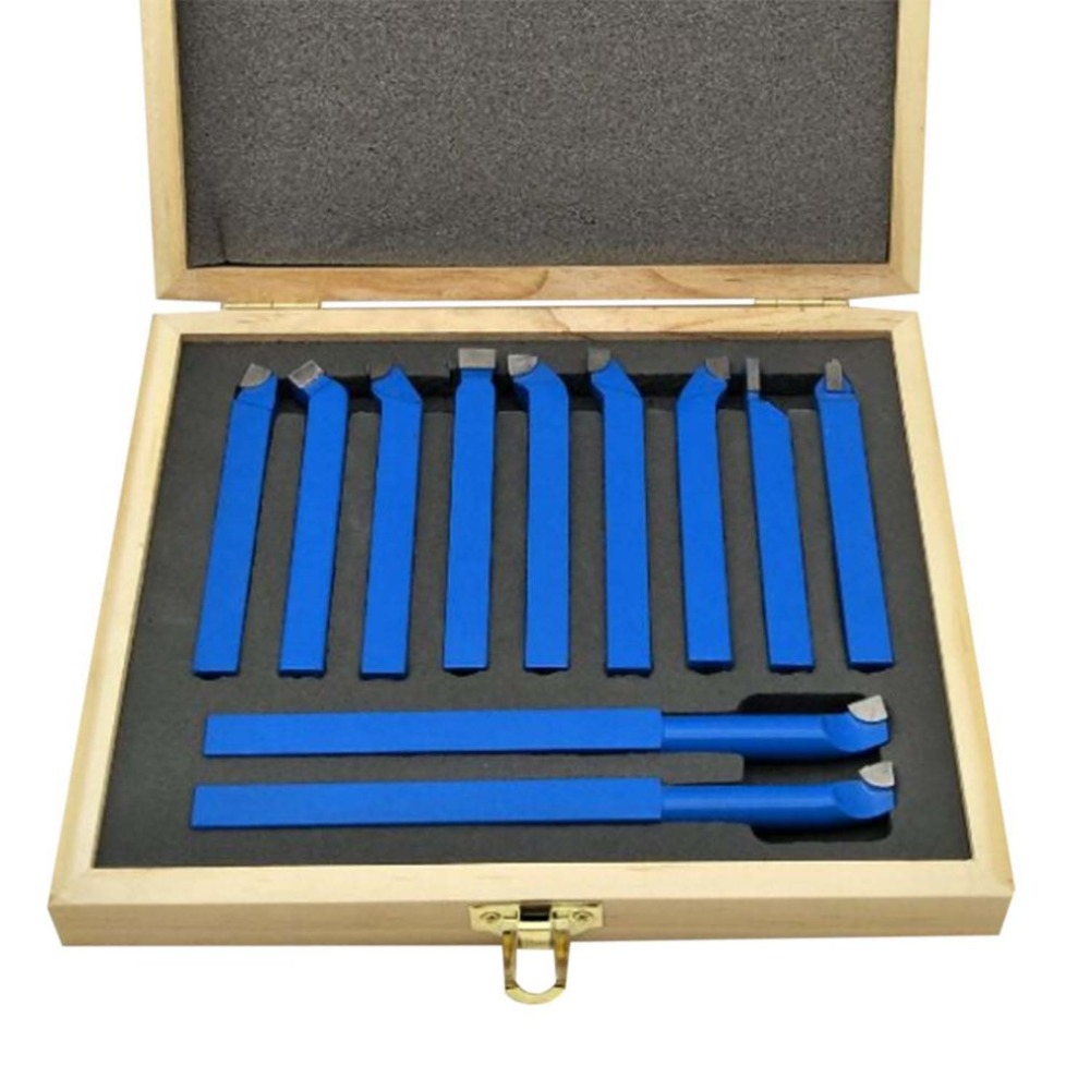 OUTAD 11pcs Carbide Tip Tipped Cutter Tool Bit Cutting Set For Metal Lathe Tooling Welding Type