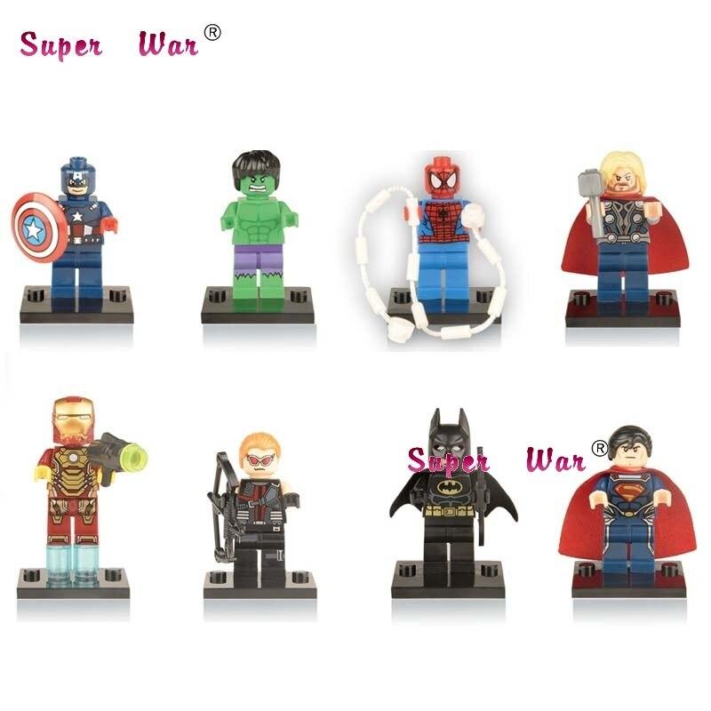 8pcs star wars super heroes marvel avengers batman Hulk Thor Spider-Man building blocks model bricks toys for children