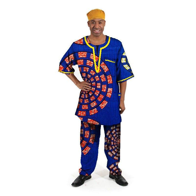 Robes Traditionnelles africaines limitée dans Le Temps Nouveau Hommes T-shirt + pantalon en coton de Dashiki 2019 Hommes Africains Cerecloth Imprimé Costume