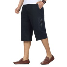 Chinese Man's Causal Beach Shorts Yellow Black Army Green Knee-length Trousers Men High Elastic Waist Baggy Cargo Shorts Summer