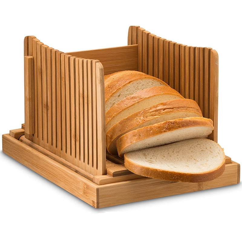Bamboo Bread Slicer Cutting Guide - Wood Bread Cutter For Homemade Bread, Loaf Cakes, Bagels Foldable And Compact With Crumbs