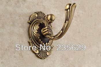Free Shipping,Copper/ brass bathroom clothes hook fashion coat hooks solid single hook antique bathroom hardware,anti-rust hook