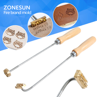 ZONESUN Embossing Brand Handle Burning Brass Mold Stamp On Food Cookie Dessert Wood Embosser Iron Burning