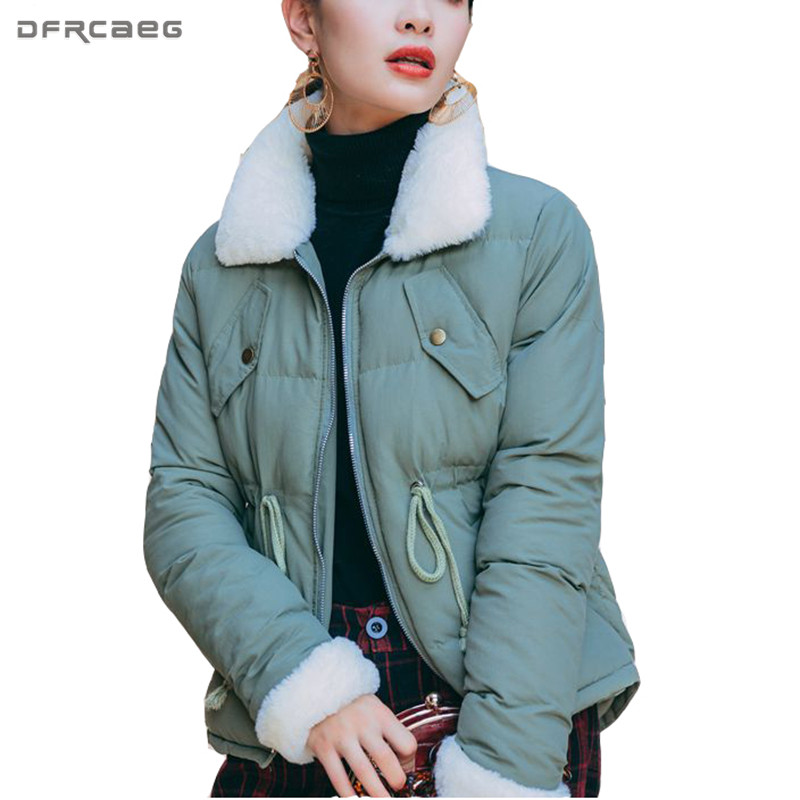 Lambswool Patchwork Thick Winter Short Jacket Women 2017 Fashion Cotton Padded Parka Outwear Casual Long Sleeve Warm Coat 2017 new fashion winter jacket men long thick warm cotton padded jackets coat parka overcoat casual outwear jacket plus size 6xl