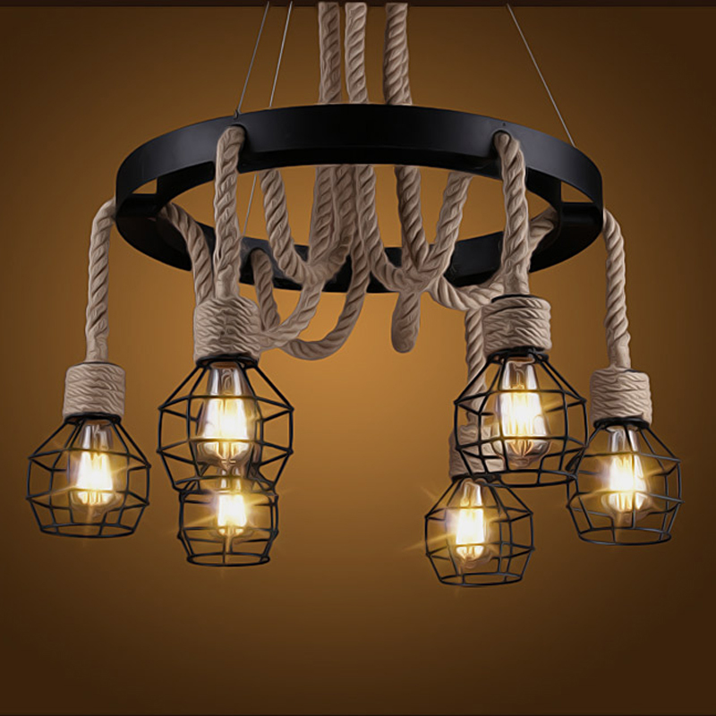 Vintage Industrial Pendant Lights 6 Heads Retro Loft Hemp Rope Fixtures For Home Lighting Edison Droplight Hanging Lamp PL673 6 heads e27 sockets nordic industrial edison chandelier vintage pendant lamp loft antique adjustable diy home lighting w o bulb