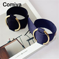 Comiya round gold plated pendants adjustable bangles for women black blue simple decoration personality bangle accessories