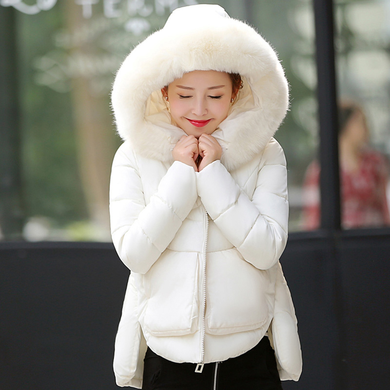 ФОТО Womens Jackets and Coats Winter 2016 Short Parkas for Women Wadded Jackets Warm Outwear Removable Large Hood Faux Fur Collar