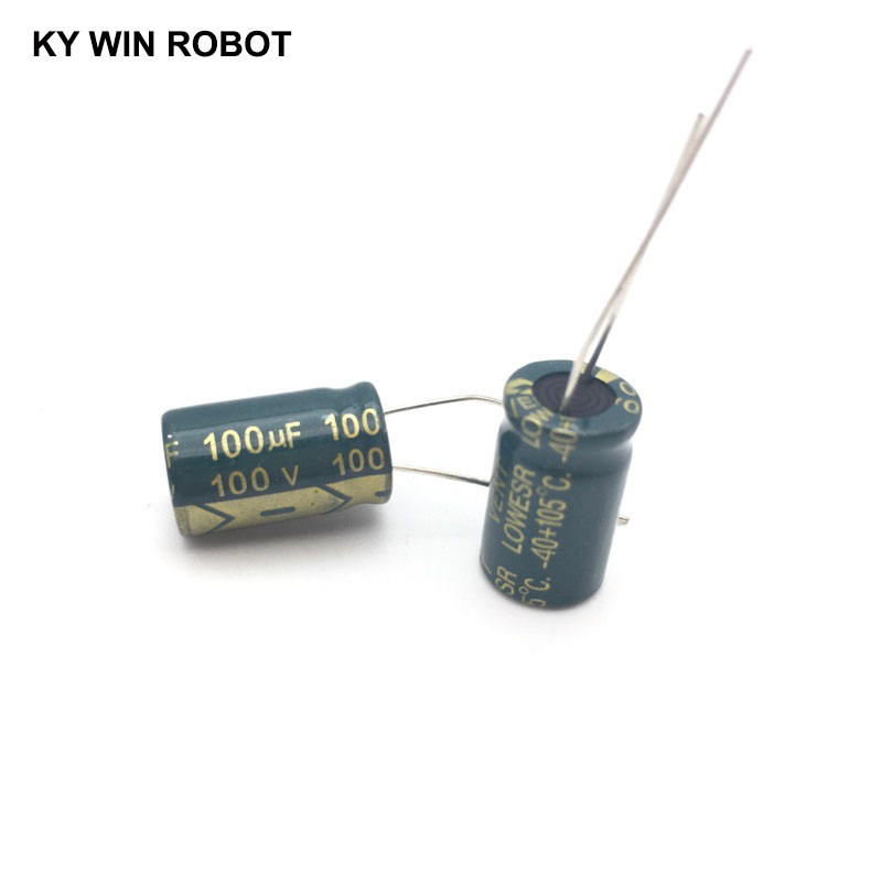 Image 5 - 10 pcs Aluminum electrolytic capacitor 100 uF 100 V 10 * 17 mm frekuensi tinggi Radial Electrolytic kapasitor-in Capacitors from Electronic Components & Supplies
