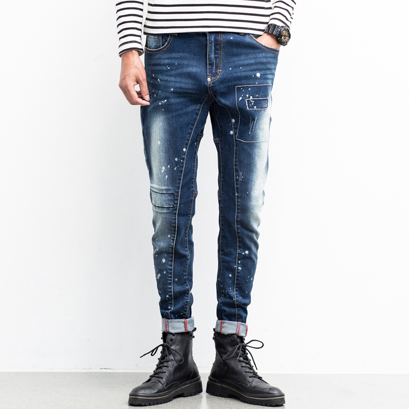 ФОТО Biker Jeans Man Ripped Patched Harem Pants Stretch Slim Fit Pencils Skinny Men jeans Trousers Printed Painted Tight Jeans Male