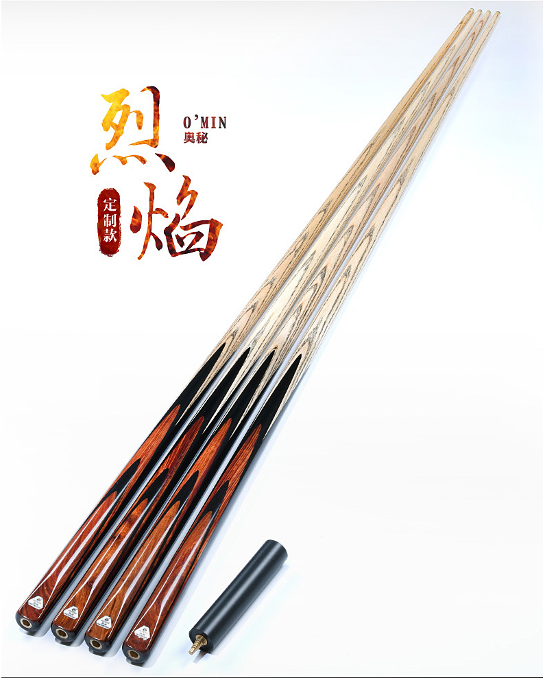 High-end Handmade OMIN Lieyan One Piece Snooker Cue 9.5mm 10mm 11.5mm Tip Snooker Stick Cue Customized