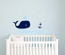 Nursery baby shower gift Whale Anchor vinyl Wall art,Nautical navy blue Wall sticker for kids Room Decor ,free ship