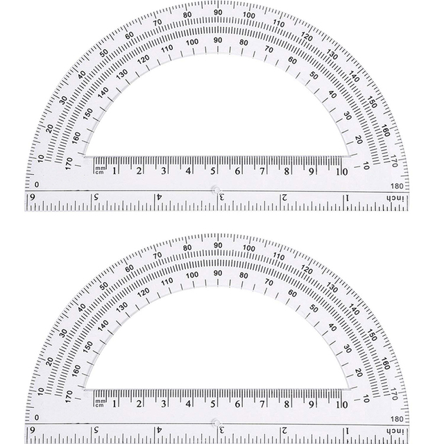 2 Pcs/lot Transparent Plastic Protractor Ruler Math Protractors Digital Protractor School Educational Supplies 180 Degrees,15CM