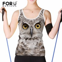 FORUDESIGNS Fashion 3D Eagle Cat Animal Women Cropped Tops Tank Top For Girls Sleeveless Breathable Woman