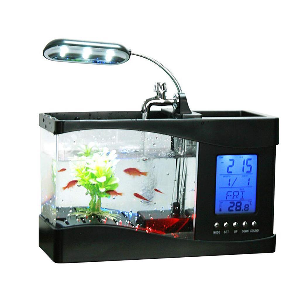 USB Mini Aquarium Aquarium tortue réservoir écologie 1.2 kg Goldfish Tank blanc, noir