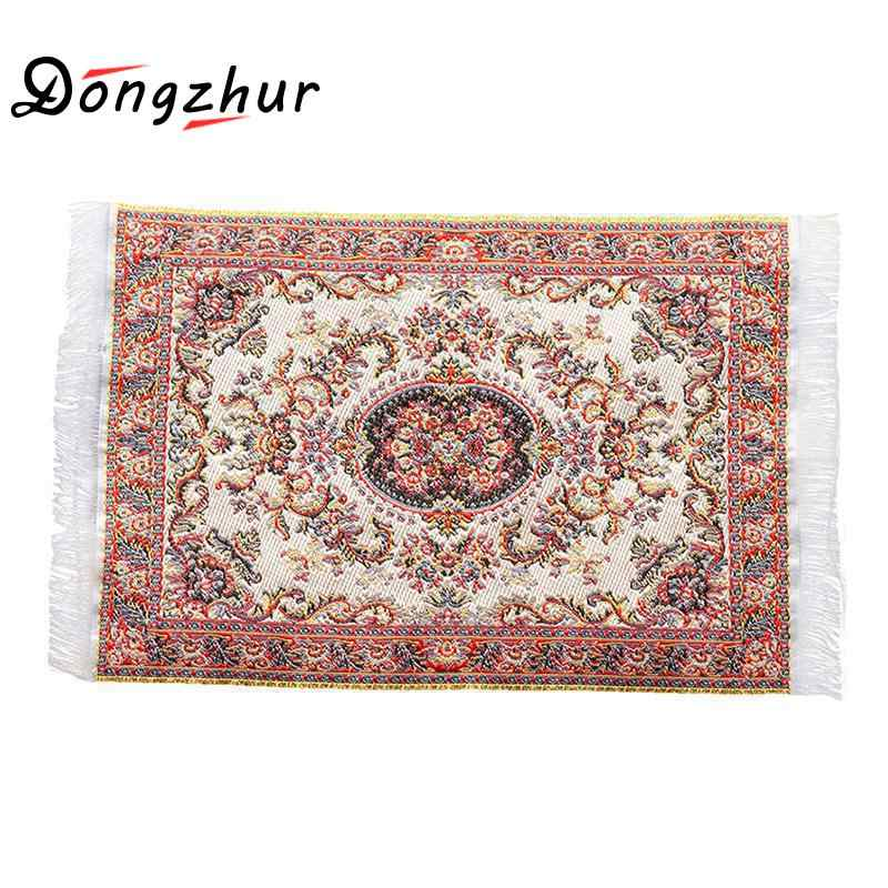 Dongzhur Dollhouse Mini Carpet Mat 1:12 Dollhouse Miniature Casa De Boneca Dollhouse Accessories Kit
