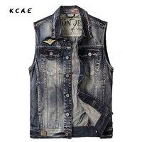 Brand Mens Denim Vest With Single Breasted Sleeveless Jeans Jacket Men Slim Cowboy Vest Motorcycle Harley