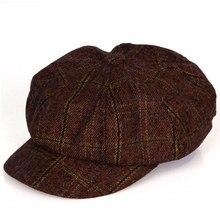 Винтажный стиль, мужская и женская повседневная одежда, плед, восемь панелей, газетная кепка, шляпа для вождения, черный, темно-зеленый