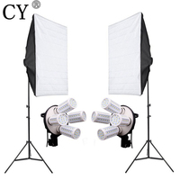 8PCS E27 20W LED Bulbs Photography Lighting Kit Photo Equipment 110v 2PCS Softbox Lightbox Light Stand