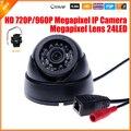 Hd Megapixel IP Camera Indoor Dome câmera de segurança 720 P / 960 P 1.0 / 1.3MP câmera IP IR Cut Filter 24 ri LED 3518E 25fps ONVIF