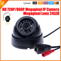 Hd Megapixel IP cámara domo para interiores cámara de seguridad 720 P / 960 P 1.0 / 1.3MP cámara IP IR Cut filtro 24 IR LED 3518E 25 fps ONVIF