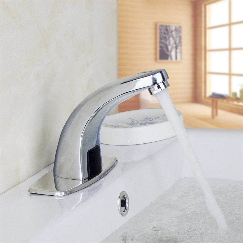 New brass chrome single handle cold And Hot water Mixer Tap basin sensor touchless faucet waterfall tap chrome unqiue patent basin faucet single handle single holes hot and cold kitchen faucet mixer solid brass water tap co8723