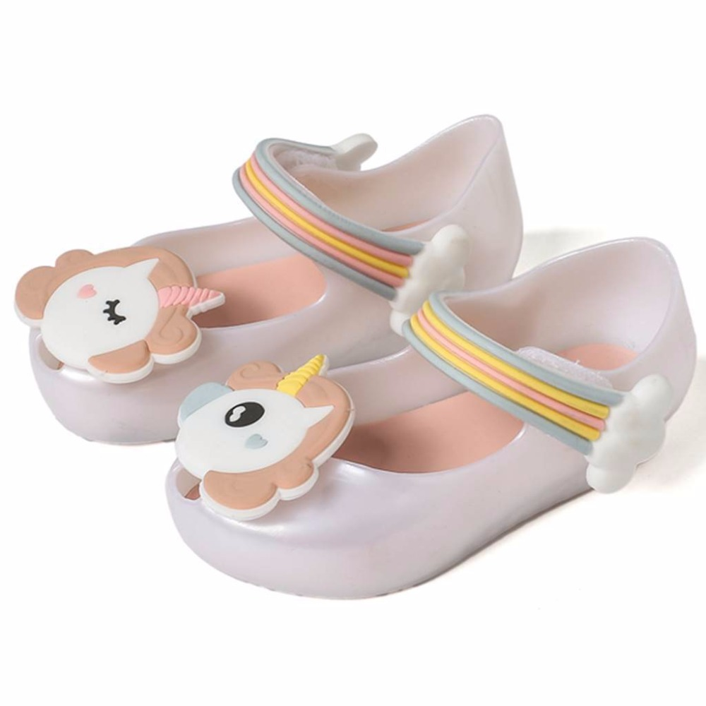 2018 New Summer Girls Dargon Sandals Mini Unicorn Shoes New Summer Jelly Shoes Fish Mouth Girl Non-slip Kids Sandal Toddler