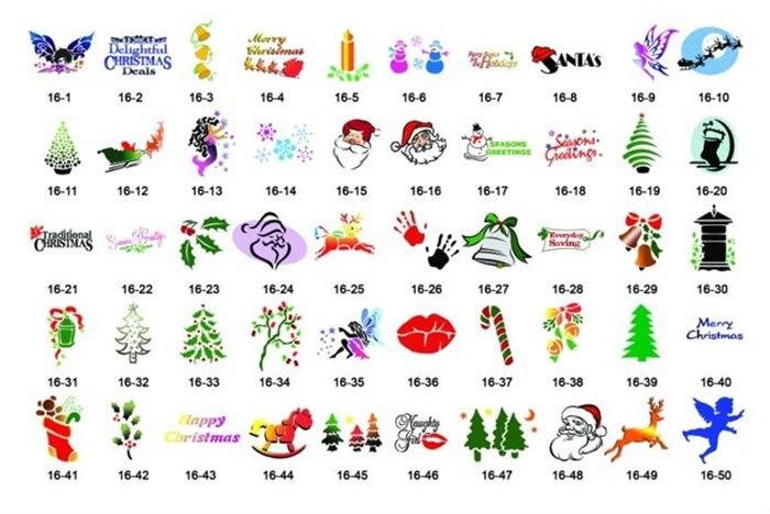 Serie de Navidad 100 diseños temporal libro Airbrush Tattoo Stencil ...