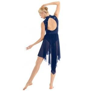 Image 4 - TiaoBug Erwachsene Halter Ärmel Shiny Pailletten Gymnastik Trikots Frauen Tutu Ballett Eiskunstlauf Kleid Lyrical Dance Kostüme