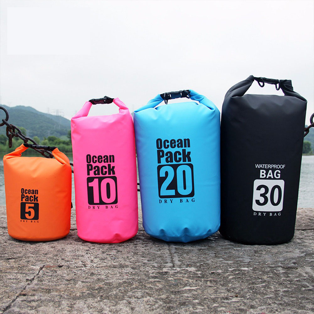 Ocean Pack Dry Bag Outdoor Waterproof Bag Swimming River Trekking Rafting Beach Bag Adjustable Strap 500D PVC