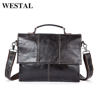 WESTAL Genuine Leather messenger bag men Handbags Fashion Business Laptop Briefcases new designer Shoulder Tote Crossbody 7909
