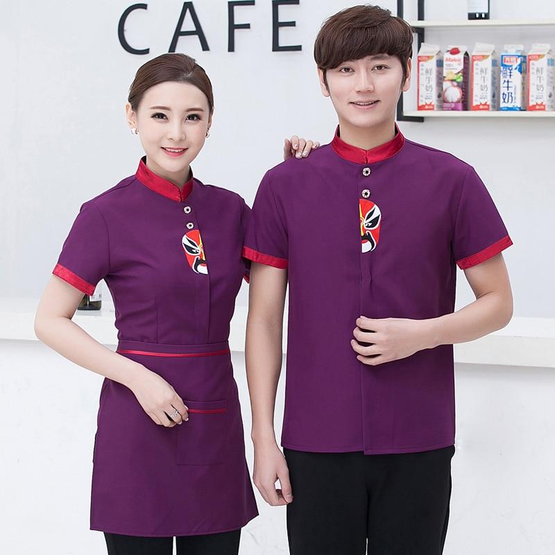 Men Women Work Wear Uniforms Hotel Overalls Restaurant Hot Pot Cake Shop bakery Waiter Waitress Short Sleeve Coat Clothing