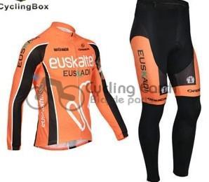 3D Silicone! Euskaltel Euskadi 2013 team long sleeve cycling jersey pants bicycle bike riding cycling autumn wear clothes set