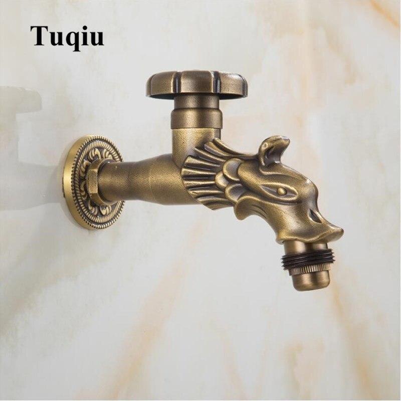 Laiton bronze fini lave-linge robinet robinet de jardin robinet extérieur avec style européen Dragon design Art sculpté