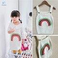 Roupas meninas Camisola Menina Bordado cardigan roupas casaco de malha para Crianças Rainbow Vestido de Tricô vestido de alça roupas 30 #