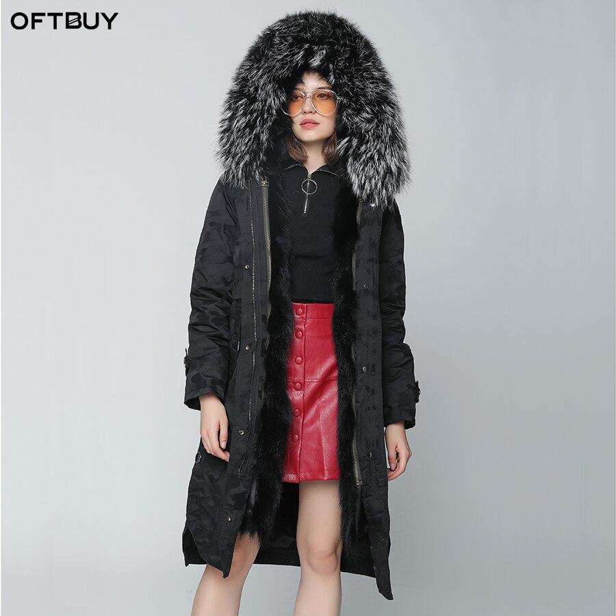 OFTBUY 2019 Winter Jacket Women Real Fur Coat X-long Camouflage Parka Natural Raccoon Fur Collar Hood Fox Fur Inside Streetwear