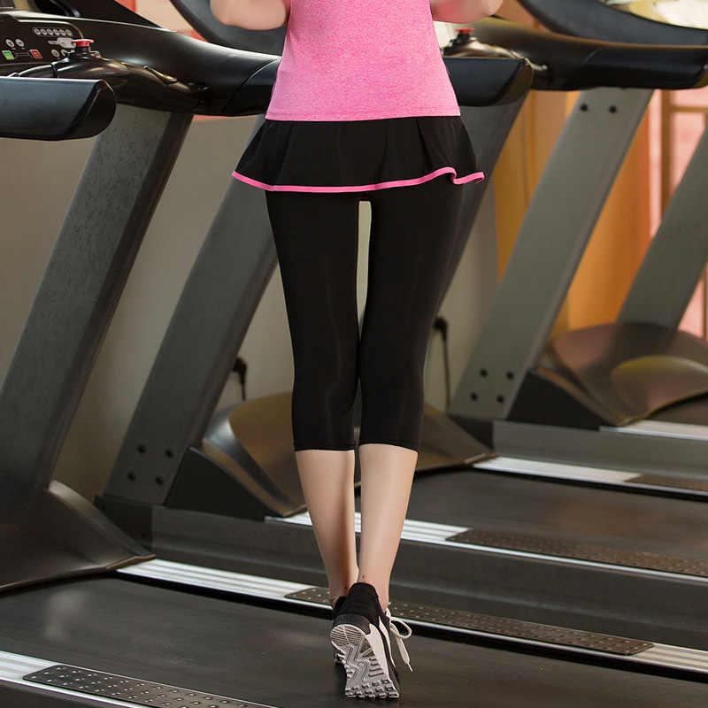 Frauen Tennis Skorts Sport GYM Gefälschte Zwei Stück Kompression Läuft Hosen Quick Dry Fitness Hosen Rock Badminton Tennis