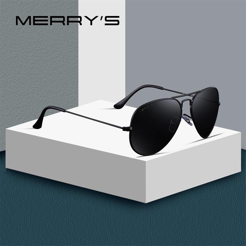 MERRY'S diseño hombres/mujeres clásico piloto gafas de sol polarizadas 58mm UV400 protección S'8025