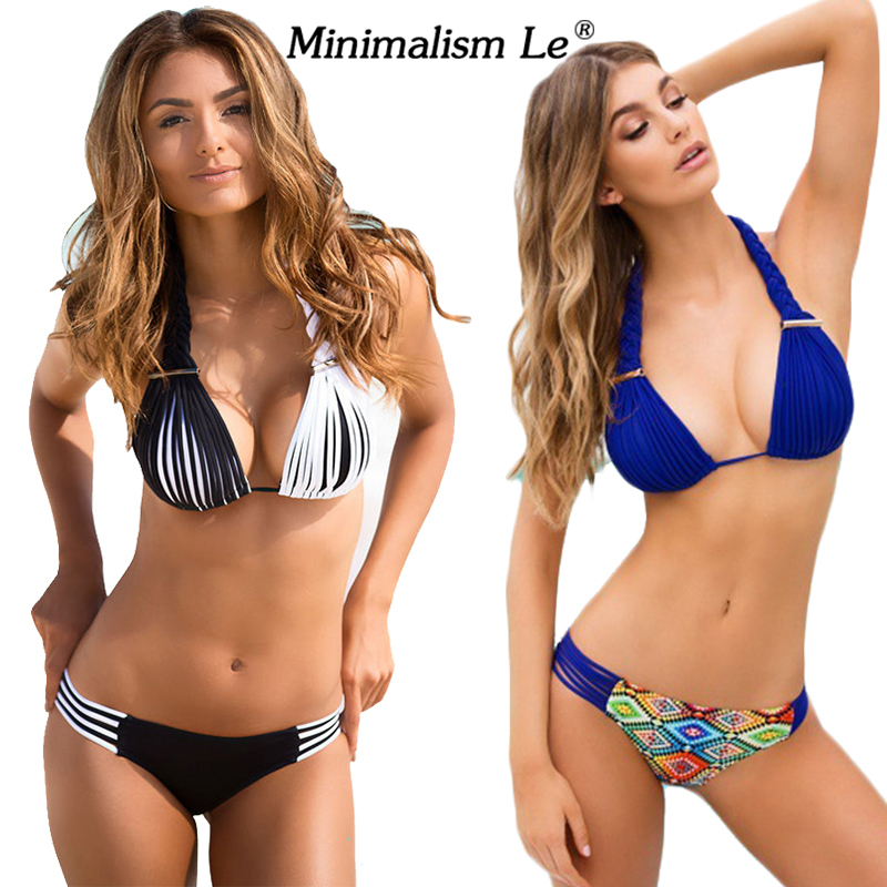 Minimalism Le Brand 2018 New Bikini Set Sexy Swimwear Women Bench Swimsuit Bathing Suit Push Up Low Waist Brazilian Bikini sexy minimalism bikini top