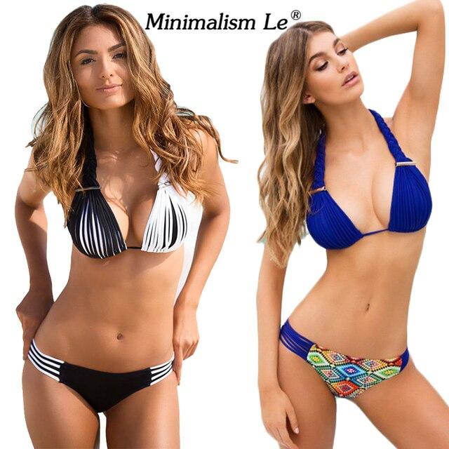 Minimalism Le Brand 2018 New Bikini Set Sexy Swimwear Women Bench Swimsuit  Bathing Suit Push Up 436295b27c
