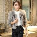 Toda a pele Fox fur roupas para mulheres casacos Curtos Magros tamanho livre de três quartos O-pescoço Quente Outerwear Jaqueta de Pele Real feminino