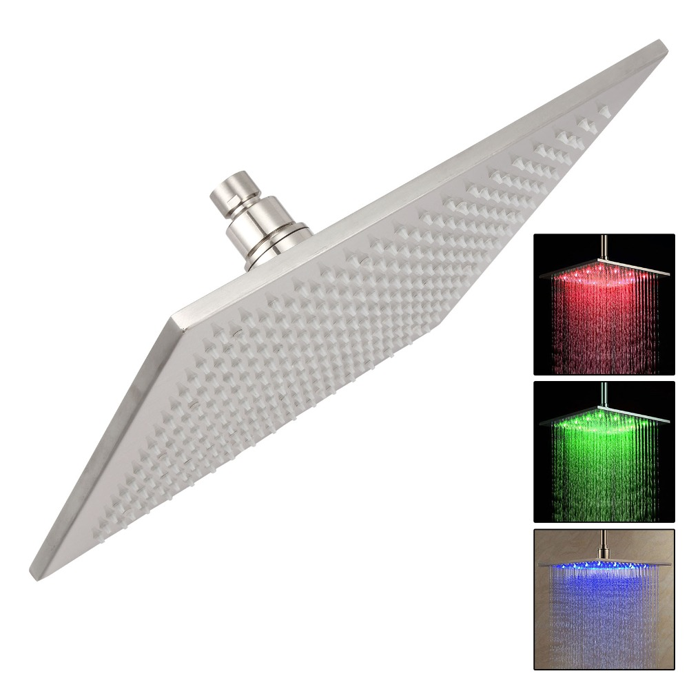 10 Inch 250*250cm Water Powered Rain Led Shower Head Without Shower Arm.Bathroom 3 Colors Led Showerhead цена 2017