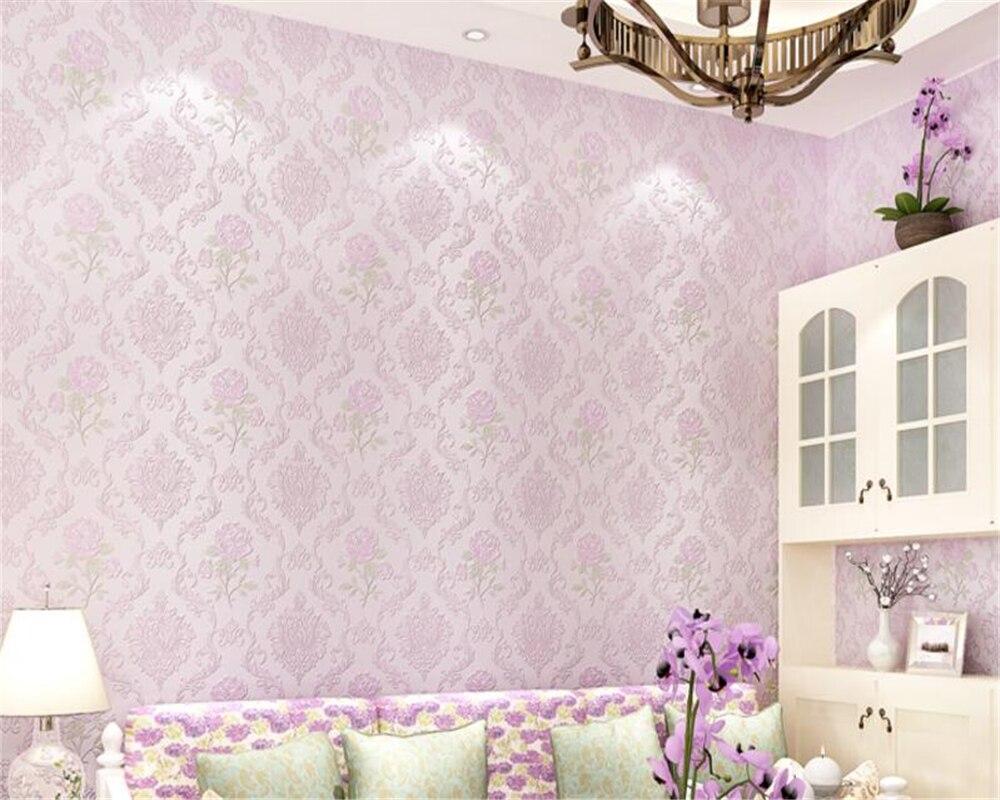 Beibehang Nonwovens papel de parede Fine chasse en relief 3d papier peint Rose frais pastorale chambre salon papier peint behang