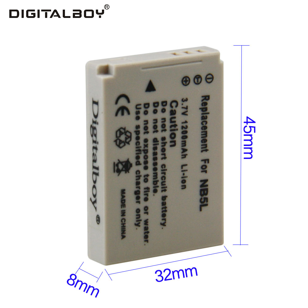 Digital Boy Hot Sale 1pcs 1200mAh 3.7V Battery NB-5L NB 5L NB5L Rechargeable Camera Battery For Canon ismart replacement nb 5l 3 7v 1200mah battery for canon powershot sx230hs sx210is more page 1