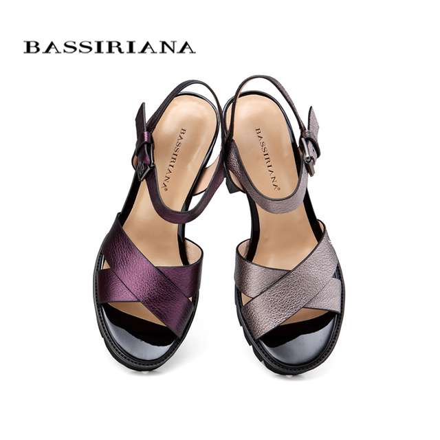 BASSIRIANA - sandals women 2017 Genuine Full Grain Leather High heels summer shoes for woman Free shipping