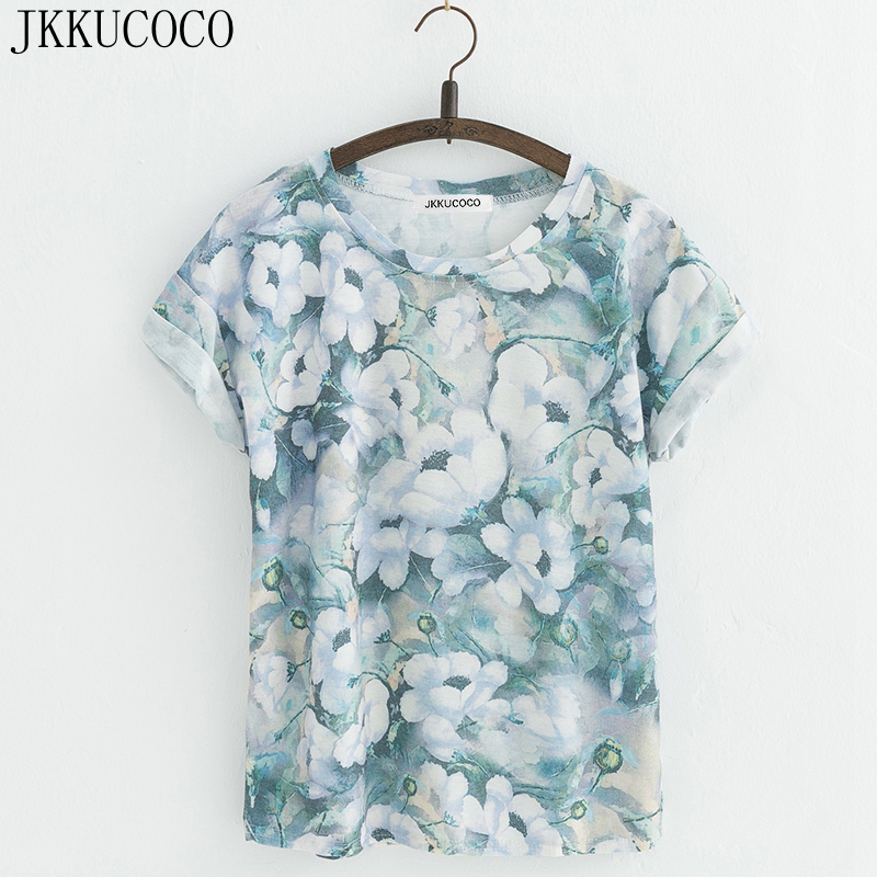 JKKUCOCO New Style Flowers printing t-shirts Cotton t shirt Women Tops Short Sleeve T shirt Casual Summer Tees Hot Tops 22 Model