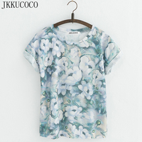 JKKUCOCO New Style Flowers Printing T Shirts Cotton T Shirt Women Tops Short Sleeve T Shirt