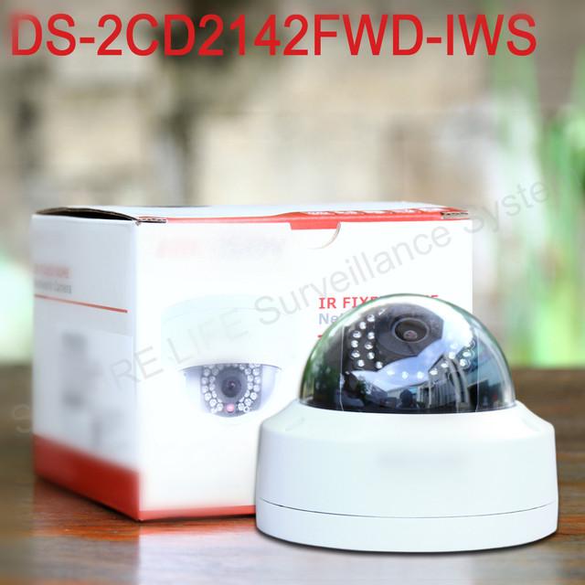 Em estoque DS-2CD2142FWD-IWS Inglês versão mini wifi dome cctv network camera 4MP, 120dB WDR ezviz P2P 1080 p câmera IP POE