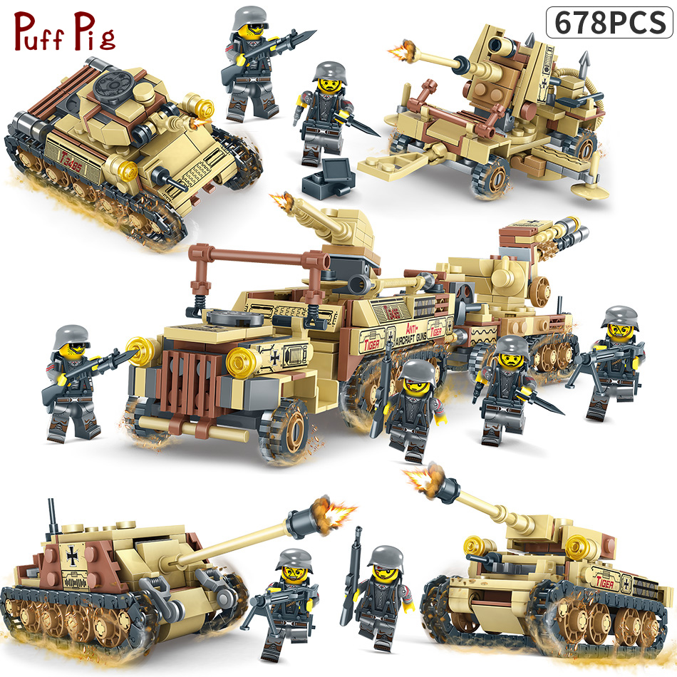 678pcs 4IN1 World War 2 Tank Model Russian T-34 Medium Tank WW2 Military Building Blocks Compatible Legoe Weapons Guns Brick Toy 1 32 fov80318 russian t 34 85 tank