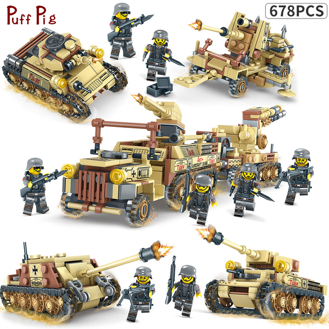 678pcs 4IN1 World War 2 Tank Model Russian T-34 Medium Tank WW2 Military Building Blocks Compatible Legoe Weapons Guns Brick Toy